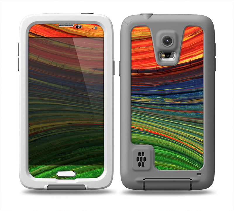 The Green, Blue and Red Painted Oil Waves Skin for the Samsung Galaxy S5 frē LifeProof Case