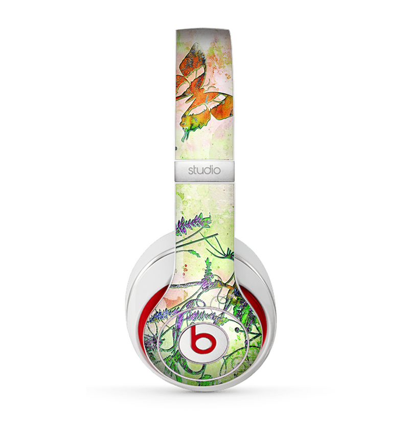 The Green Bright Watercolor Floral Skin for the Beats by Dre Studio (2013+ Version) Headphones