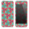 The Green & Coral Abstract Warped Pattern Skin for the iPhone 3, 4-4s, 5-5s or 5c
