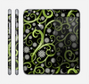 The Green Floral Swirls on Black Skin for the Apple iPhone 6