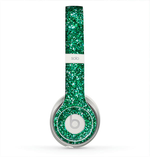 The Green Glitter Print Skin for the Beats by Dre Solo 2 Headphones