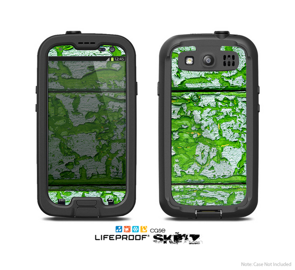 The Green Grunge Wood Skin For The Samsung Galaxy S3 LifeProof Case