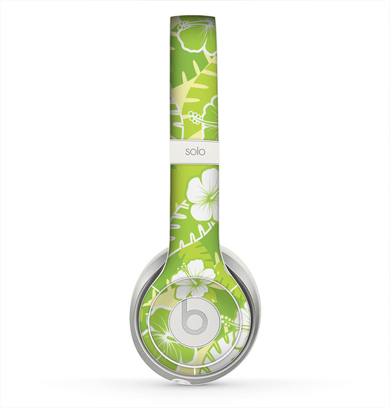 The Green Hawaiian Floral Pattern V4 Skin for the Beats by Dre Solo 2 Headphones