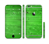 The Green Highlighted Wooden Planks Sectioned Skin Series for the Apple iPhone 6
