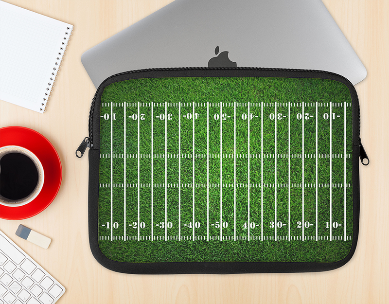 The Green Turf Football Field Ink-Fuzed NeoPrene MacBook Laptop Sleeve