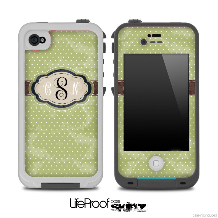 sneakers for cheap f2cba 65f84 The Green Vintage Polka Dot Custom Monogram Skin for the iPhone 4 or 5  LifeProof Case