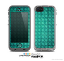 The Green Wavy Abstract Pattern Skin for the Apple iPhone 5c LifeProof Case