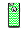 The Green & White Chevron Pattern Apple iPhone 6 Otterbox Commuter Case Skin Set