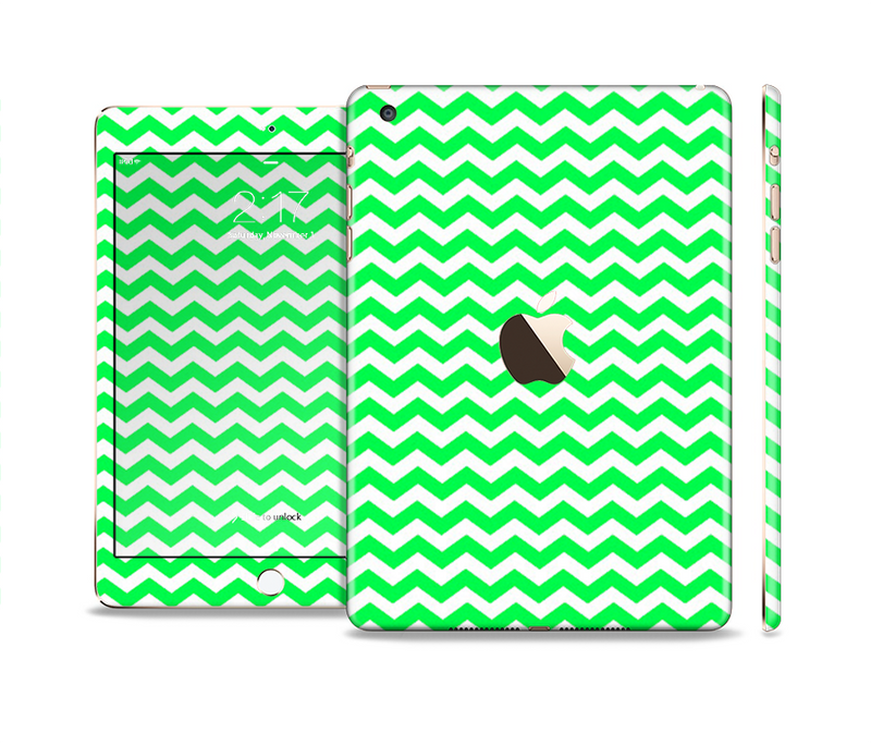 The Green & White Chevron Pattern Full Body Skin Set for the Apple iPad Mini 3