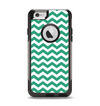 The Green & White Chevron Pattern V2 Apple iPhone 6 Otterbox Commuter Case Skin Set