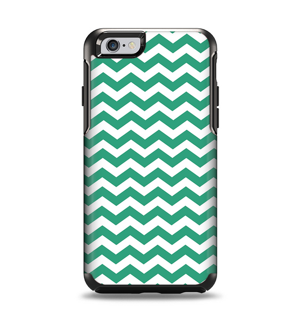 The Green & White Chevron Pattern V2 Apple iPhone 6 Otterbox Symmetry Case Skin Set