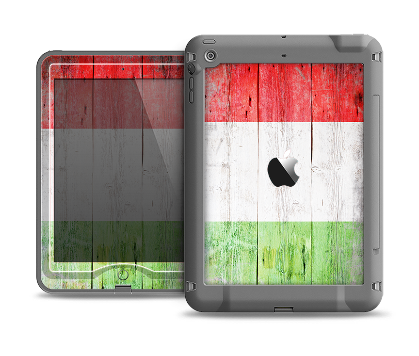 The Green, White and Red Flag Wood Apple iPad Air LifeProof Nuud Case Skin Set