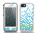 The Green and Blue Mosaic Pattern Skin for the iPhone 5-5s OtterBox Preserver WaterProof Case