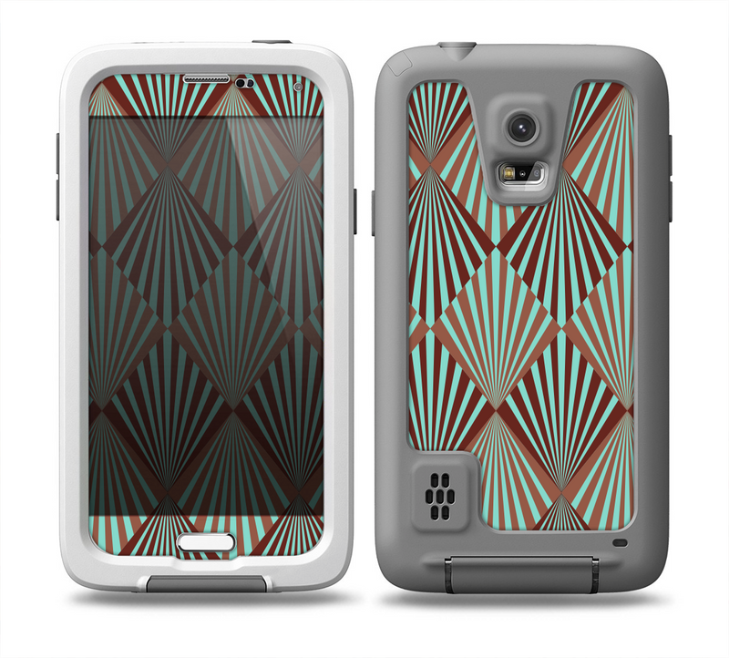 The Green and Brown Diamond Pattern Skin for the Samsung Galaxy S5 frē LifeProof Case