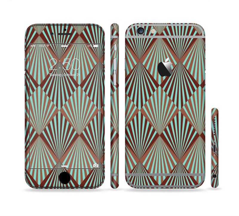 The Green and Brown Diamond Pattern Sectioned Skin Series for the Apple iPhone 6s