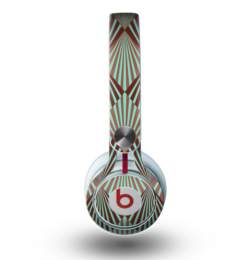 The Green and Brown Diamond Pattern Skin for the Beats by Dre Mixr Headphones