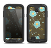 The Green and Subtle Blue Floral Pattern Samsung Galaxy S4 LifeProof Fre Case Skin Set
