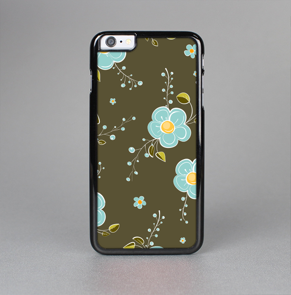 The Green and Subtle Blue Floral Pattern Skin-Sert Case for the Apple iPhone 6 Plus