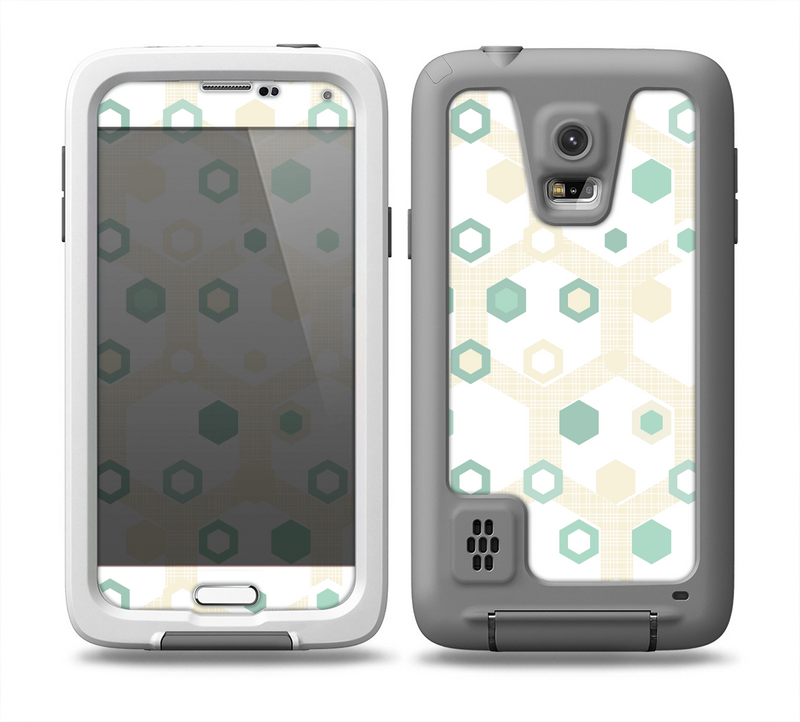 The Green and Yellow Layered Vintage Hexagons Skin for the Samsung Galaxy S5 frē LifeProof Case