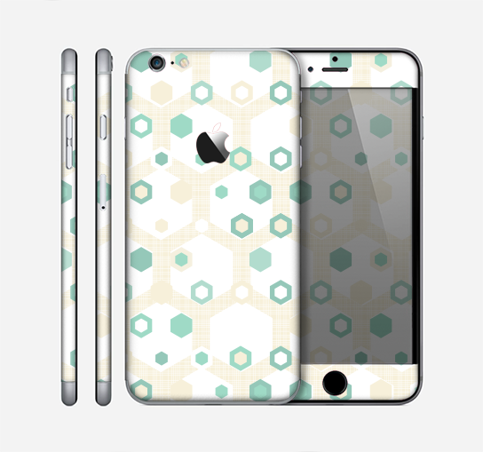 The Green and Yellow Layered Vintage Hexagons Skin for the Apple iPhone 6 Plus