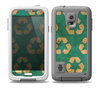 The Green and Yellow RECYCLE Pattern V2 Skin for the Samsung Galaxy S5 frē LifeProof Case
