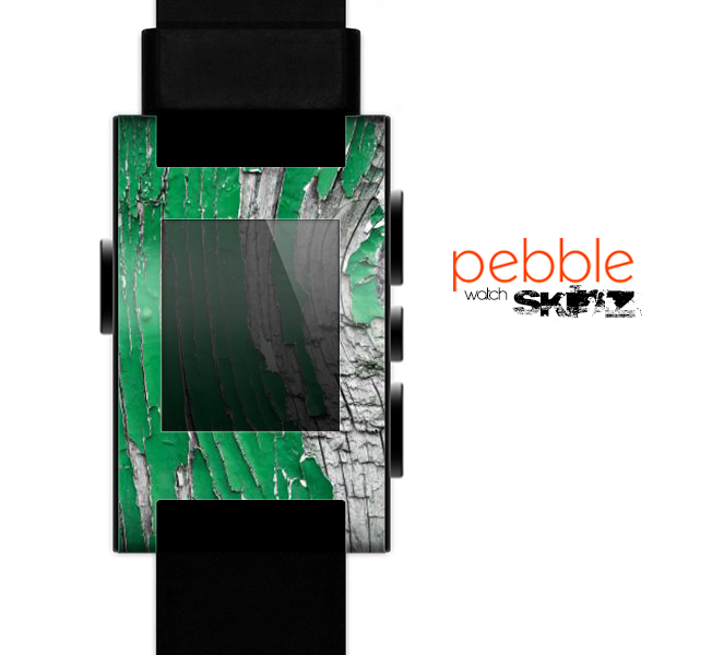 The Green layer on White Aged Wood  Skin for the Pebble SmartWatch