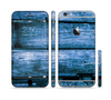 The Grunge Blue Wood Planks Sectioned Skin Series for the Apple iPhone 6 Plus