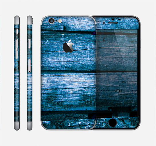 The Grunge Blue Wood Planks Skin for the Apple iPhone 6