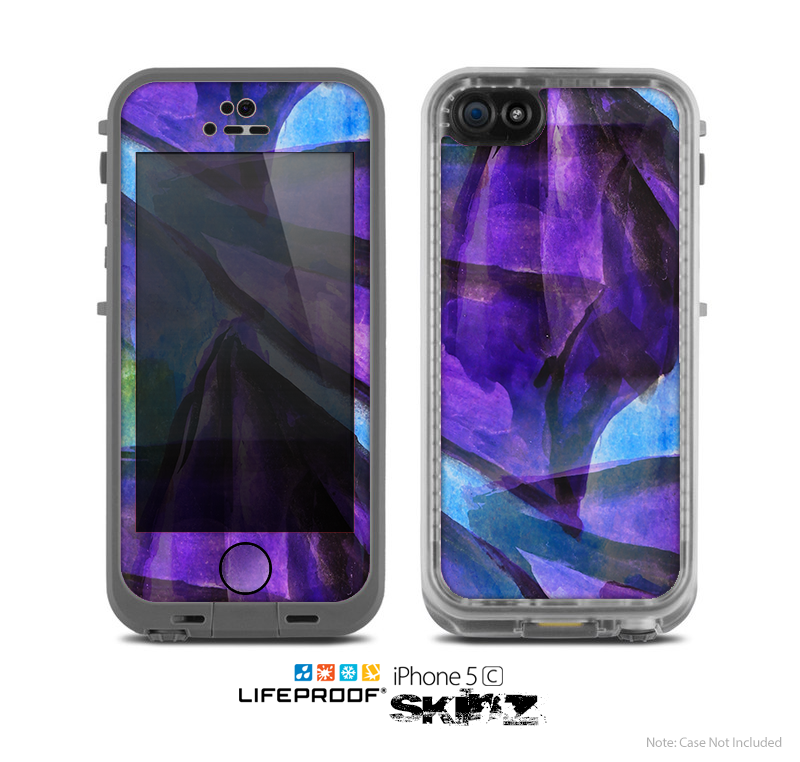 The Grunge Dark Blue Painted Overlay Skin for the Apple iPhone 5c LifeProof Case