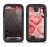 The Grunge Dark & Light Red Hearts Samsung Galaxy S4 LifeProof Nuud Case Skin Set