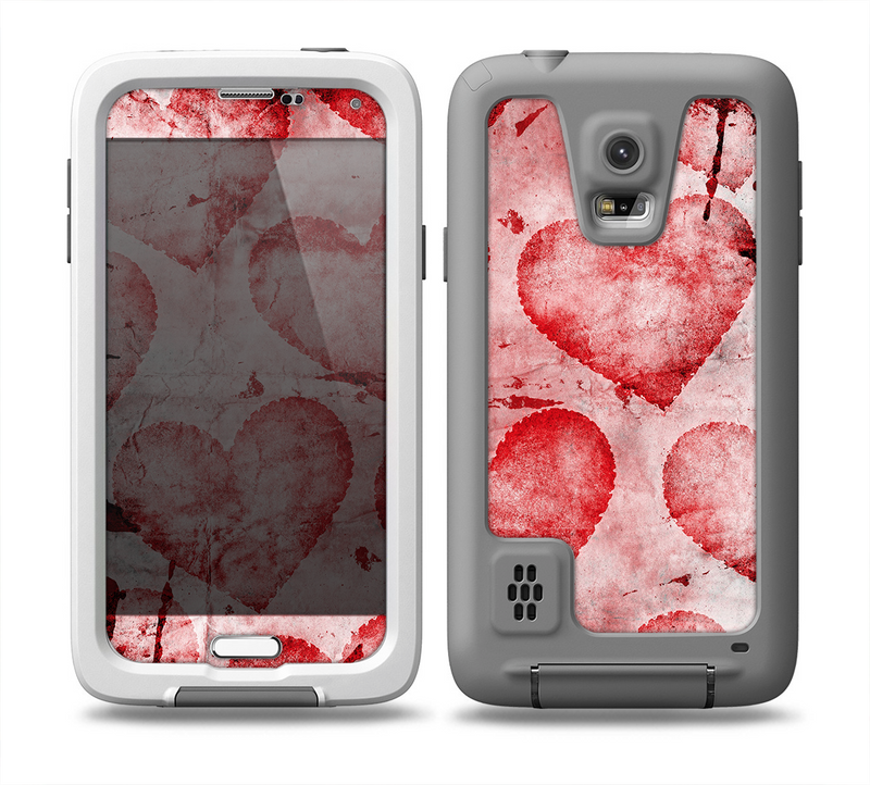 The Grunge Dark & Light Red Hearts Skin for the Samsung Galaxy S5 frē LifeProof Case