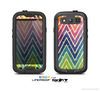 The Grunge Vibrant Green and Neon Chevron Pattern Skin For The Samsung Galaxy S3 LifeProof Case
