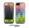 The Grunge Vibrant Green and Neon Chevron Pattern Skin for the Apple iPhone 5c LifeProof Case