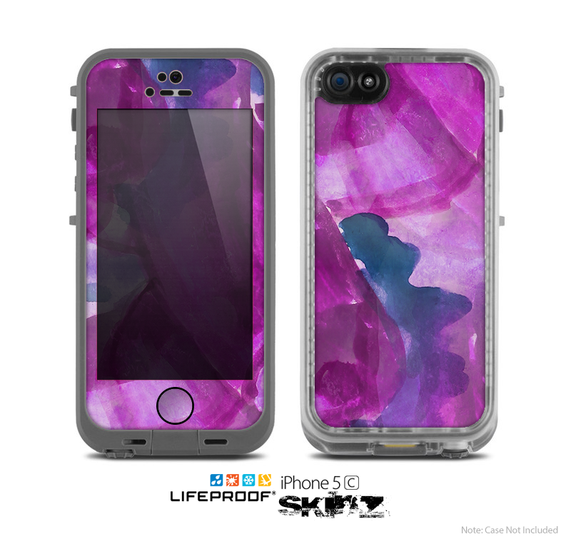 The Grunge Watercolor Pink Strokes Skin for the Apple iPhone 5c LifeProof Case