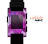 The Grunge Watercolor Pink Strokes Skin for the Pebble SmartWatch