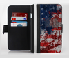 The Grungy American Flag Ink-Fuzed Leather Folding Wallet Credit-Card Case for the Apple iPhone 6/6s, 6/6s Plus, 5/5s and 5c