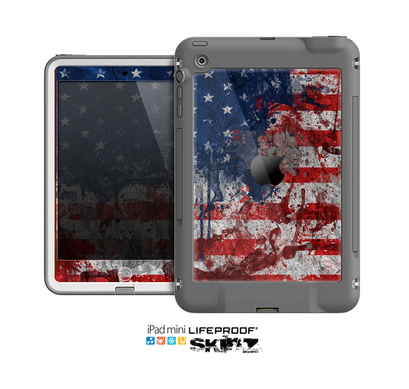 The Grungy American Flag Skin for the Apple iPad Mini LifeProof Case