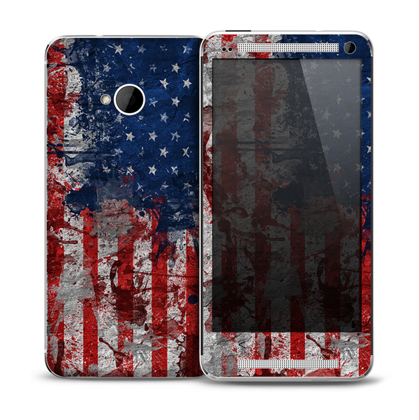 The Grungy American Flag Skin for the HTC One