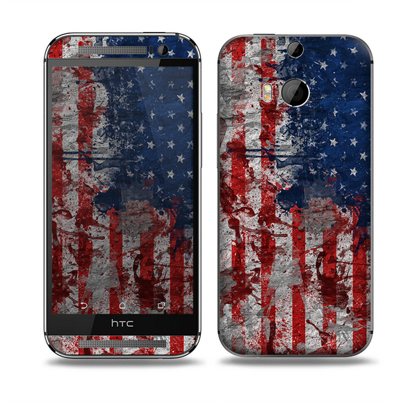 The Grungy American Flag Skin for the HTC One M8