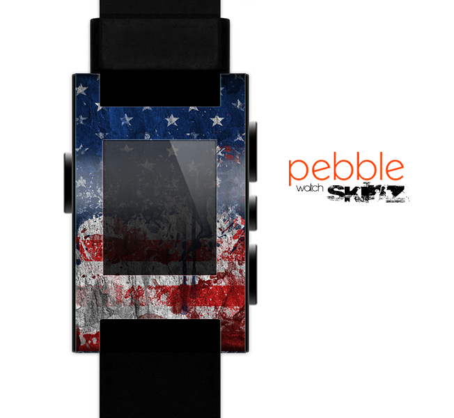 The Grungy American Flag Skin for the Pebble SmartWatch