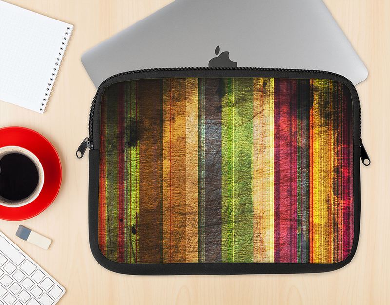The Grungy Color Stripes Ink-Fuzed NeoPrene MacBook Laptop Sleeve