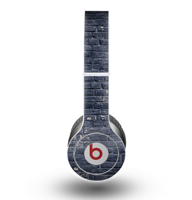 The Grungy Dark Blue Brick Wall Skin for the Beats by Dre Original Solo-Solo HD Headphones