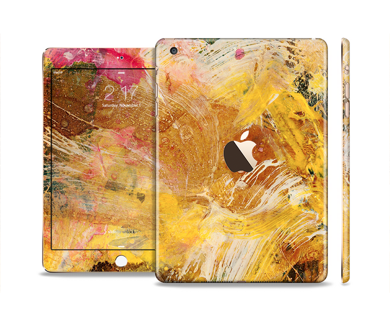 The Grungy Golden Paint Full Body Skin Set for the Apple iPad Mini 3
