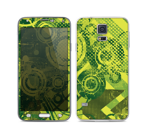 The Grungy Green Messy Pattern V2 Skin For the Samsung Galaxy S5