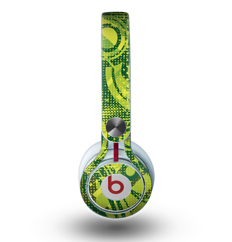 The Grungy Green Messy Pattern V2 Skin for the Beats by Dre Mixr Headphones