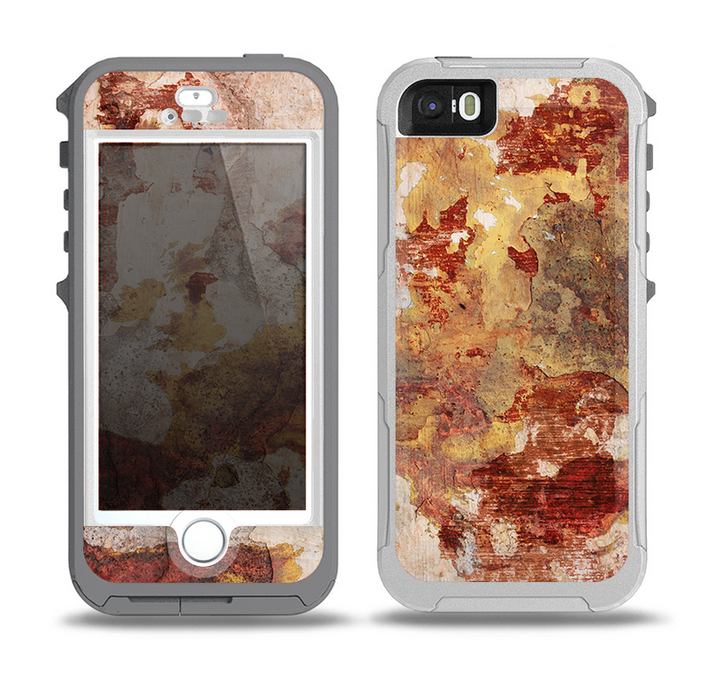 The Grungy Red Panel V3 Skin for the iPhone 5-5s OtterBox Preserver WaterProof Case