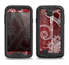 The Grungy Red & White Stitched Pattern Samsung Galaxy S4 LifeProof Nuud Case Skin Set