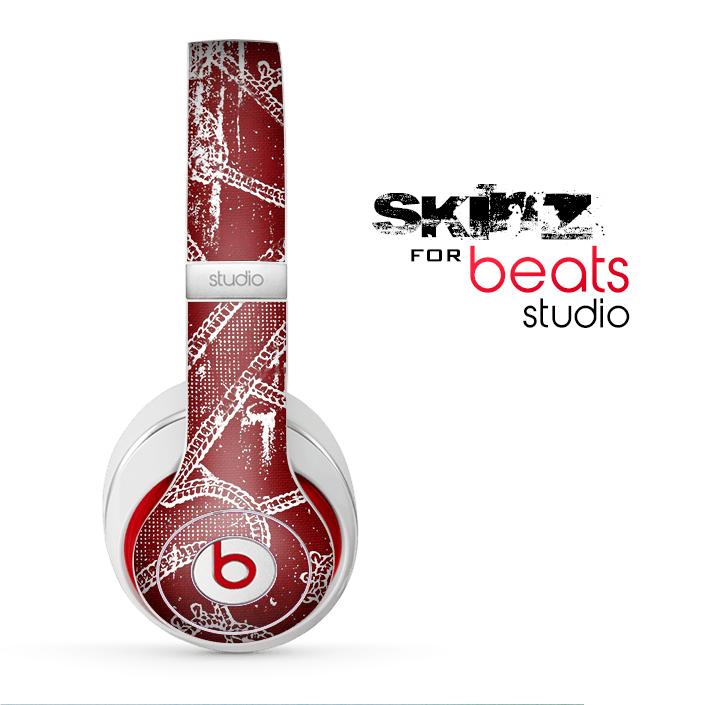 The Grungy Red & White Stitched Pattern Skin for the Beats Studio for the Beats Skin