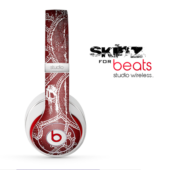The Grungy Red & White Stitched Pattern Skin for the Beats by Dre Studio Wireless Headphones