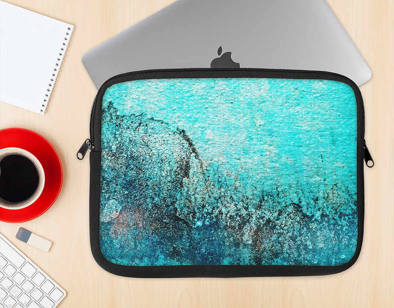 The Grungy Teal Surface V3 Ink-Fuzed NeoPrene MacBook Laptop Sleeve